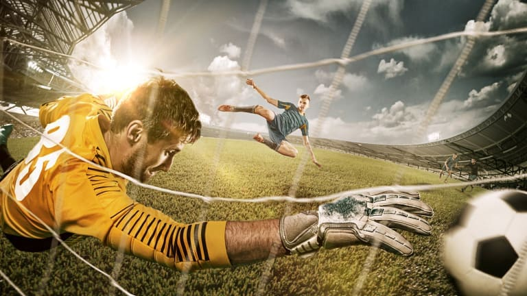 football players in goal